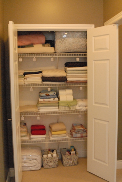 organized, home staging, linen closet
